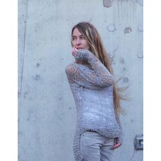 Pale Grey Lightweight Grunge Loose Knit Sweater ($115) ❤ liked on Polyvore featuring tops, sweaters, grey, women's clothing, holiday tops, evening tops, one-shoulder tops, knit tops and asymmetrical sweater