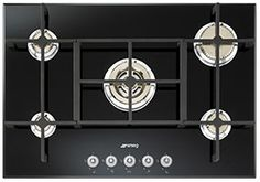 "Smeg PV750N 75cm ""Linea"" Gas on Glass hob - Black Glass"