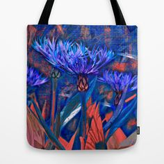 Floral abstract(13). Tote Bag by Mary Berg - $22.00 #totebag #society6 #flowers #blue #coral