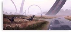 Based in Sweden, artist Simon Stålenhag has created a completely alternate world where people live alongside dinosaurs, robots and super futuristic structures. Arte Sci Fi, Sci Fi Art, Ralph Mcquarrie, Art Science Fiction, Sci Fi Kunst, Inspiration Artistique, Concept Art World, Chef D Oeuvre, Fantasy Art
