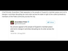 Chief Minister Anandiben Patel tweeted To All Patel Patidar Samaj