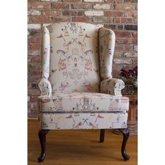 CORAL & TUSK Circus Toile fabric for Pollack Studio Wingback Chair, Armchair, Coral And Tusk, Fabric Crafts, Accent Chairs, Kids Room, Studio, Art Art, Stitch