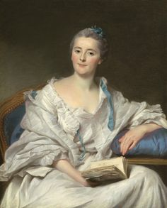 Marie Francoise Julie Constance Filleul, Marquise de Marigny (c.1767). Alexander Roslin (Swedish, 1718-1793). Oil on canvas. One of Madame de Marigny is quite obviously for effect, has a nice color, but the touch is soft. There is uncertainty in the drawing, the dress is well made but the head is not right. The figure collapses, is not supported. The arms and hands are formless, the throat is flat and grey and then on the face, there is a sullenness.  Diderot, Salon 1767. Tough critic.