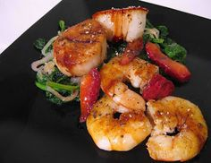 Seared Scallops And Shrimp With Balsamic Strawberries Recipe