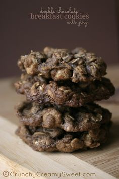 Double Chocolate Breakfast Cookies with Zing by CrunchyCreamySweet.com