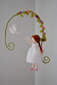 Items similar to Dove with girl Nursery Mobile / Wall Hanging Waldorf inspired : Girl in white on Etsy Waldorf Crafts, Waldorf Dolls, Felt Crafts, Diy And Crafts, Wool Dolls, Felt Mobile, Needle Felting Tutorials, Felt Fairy, Flower Fairies