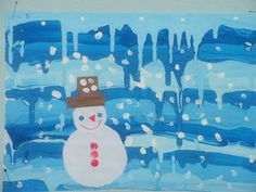 Paint drippage for icicles. Add painted or collaged snowmen. This French site includes stunning examples of art lessons. Check it out.