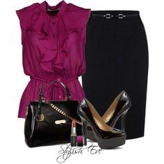 Ruffly jewel toned top and a pencil skirt. Again, a nice mix of flowy and refined. https://fbcdn-sphotos-a-a.akamaihd.net/hphotos-ak-prn2/t1.0-9/10262198_1487368404813175_8831965330227687956_n.jpg