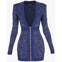 Mini-robe zippée en mailles | Robes en maille Femme | Balmain ($660) ❤ liked on Polyvore featuring dresses, balmain, mini dress, short knit dress, short blue dresses and blue mini dress