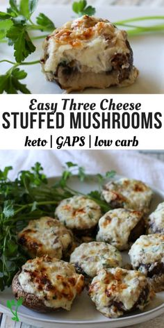 Three Cheese Stuffed Mushrooms (Low Carb, Keto, Primal, GAPS) These Three Cheese Stuffed Mushrooms make a great healthy appetizer. With only 6 ingredients, they are incredibly simple and quick to make. | Prepare and Nourish | easy appetizer | mushroom appetizer | low carb appetizer | Keto appetizer | real food appetizer || #lowcarb #appetizer