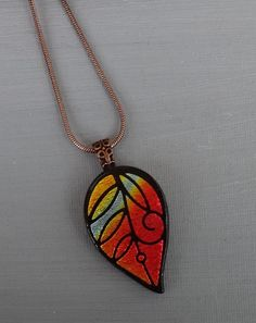 Hand Etched Fused Glass Pendant Dichroic Fused Glass by GlassCat