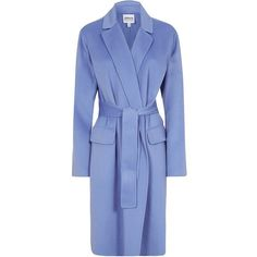 Armani Collezioni Belted Cashmere Coat ($2,205) ❤ liked on Polyvore featuring outerwear, coats, blue, coats & jackets, blue coat, armani collezioni, belted coat, wool cashmere coat and cashmere coat