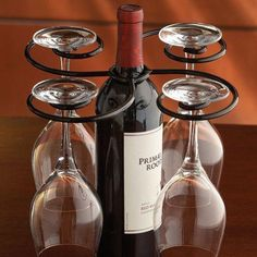 Wine Bottle Glasses Holder - 4 Stemmed Glass Caddy Hostess Carrying Tray