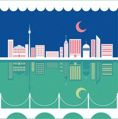 Moon and the city illustration