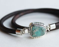 Mens Turquoise Bracelet Leather mens by ChickpeaDesignStudio