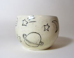 Outer Space ceramic bowl for use or decoration    les artiste.  bw et silvre macbch