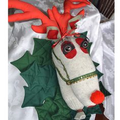Rudolph the Red Nosed Reindeer Handmade Christmas Wall Hanging | GracefulArts - Seasonal on ArtFire