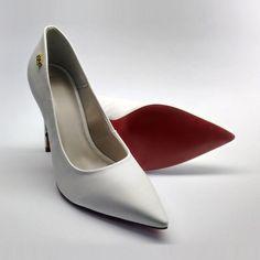 Sapato Scarpin Salto Alto Tec. Milano Branco