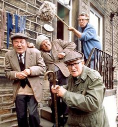 "My dear old Dad adored this show. wish I could watch it with him Last of the Summer Wine - Nora Batty (Kathy Staff) - - ""Compo"" (Bill Owen) - - Norman Clegg (Peter Sallis) - - ""Foggy"" Dewhurst (Brian Wilde) British Tv Comedies, Classic Comedies, British Comedy, Comedy Tv, Comedy Show, Peter Sallis, Last Of Summer Wine, English Comedy, British Humor"