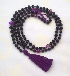 Happymala necklace with black and purple glass/stone beads with purple tassel. Use it as necklace or bracelet. Lenght with tassel: inch/ Alley Cat, Purple Glass, Stone Beads, Tassel Necklace, Jewerly, Tassels, Etsy Seller, Handmade Jewelry, Yoga