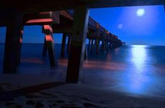 Last night's full moon from under the Juno Pier... Photo by Mike West