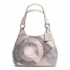 Coach F20032 Silver/Taupe Multi Inlaid Patchwork Hobo Handbag