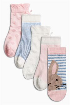 Set van vijf paar getextureerde roze sokjes met konijnenprint (Jongere meisjes)