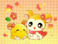 Penelope and Pashmina (Chibimaru-chan and Mafuraa-chan) Hamtaro, Hamutaro art
