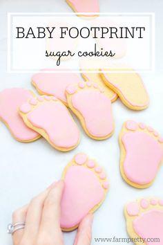 Baby announcement | Baby print sugar cookies | Baby girl cookies | Footprint cookies