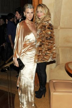 Nicole Richie wearing Sofia vintage fur coat, Alaia suede braided ankle boots,  Nicole Richie & Bryan Boy Met Ball 2011