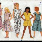 Vintage 1980s Butterick 4900 Girls' Jumpsuit and Dress, Fast and Easy