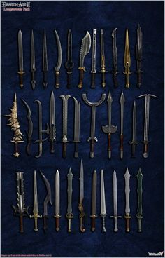 Dragon Age II: Longswords pack by Berserker79 equipment gear magic item | Create your own roleplaying game material w/ RPG Bard: www.rpgbard.com | Writing inspiration for Dungeons and Dragons DND D&D Pathfinder PFRPG Warhammer 40k Star Wars Shadowrun Call of Cthulhu Lord of the Rings LoTR + d20 fantasy science fiction scifi horror design | Not Trusty Sword art: click artwork for source