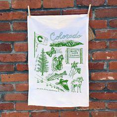 COLORADO SYMBOLS - flour sack tea towel cotton screenprinted with green ink white fabric outdoors nature fauna