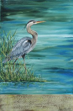 Great Blue Heron 2 Painting by Jean Plout - Great Blue Heron 2 Fine Art Prints and Posters for Sale