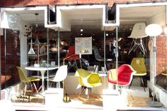 Our current window display features a selection of Eames dining and armchairs designed by husband and wife team Charles & Ray Eames. 09/14