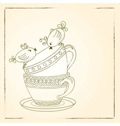 Card with tea cups and art birds vector by Julia_Snegireva on VectorStock®