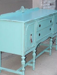 """I finished a buffet this week to sell at The Red Apron sale this weekend. I used the color""""Juneau Springs"""" from Benjamin Moore and really thought it would"""