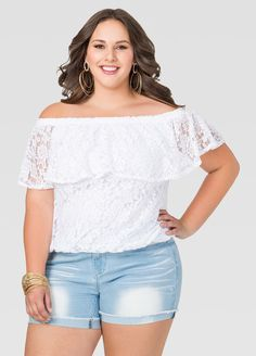 Off-Shoulder Lace Top Off-Shoulder Lace Top in White