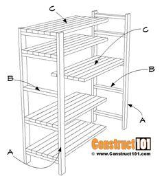 DIY 2x4 Storage Shelves - Free Plans - Construct101 Diy 2x4 Storage Shelves, Shed Storage, Garage Storage, Woodworking Projects Diy, Woodworking Plans, Woodworking Shop, Diy Projects, Bookcase Closet, Wall Shelves Design