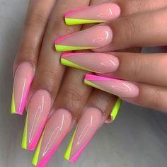 Pink Acrylic Nails, Acrylic Nails Coffin Short, Colourful Acrylic Nails, Bright Summer Acrylic Nails, Neon Nail Art, Bright Nails, Pastel Nails, Coffin Nails, Dope Nails