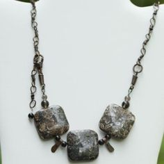 Turitella Jasper fossils, 100% handmade recycled copper chain