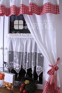 Kitchen Curtain Designs, Kitchen Curtain Sets, Kitchen Curtains, No Sew Curtains, Crochet Curtains, Rustic Curtains, Shabby Chic Kitchen, Farmhouse Kitchen Decor, White Cottage Kitchens