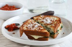 Spinach-Mozzarella Grilled Cheese {gluten free} - Looks so good!