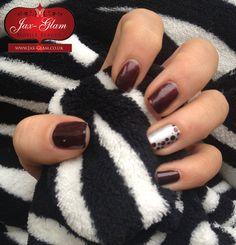 CND Shellac Dark Lava & Chrome Silver Nail Art