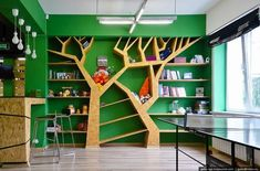 Architecture And Interior Photography Of Siberian Cities - English Russia Bookstore Design, Home Library Design, Kids Library, House Design, Space Preschool, Tree Shelf, Kindergarten Design, Library Furniture, Playground Design