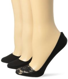 Ellen Tracy Womens 3 Pack Lace Toe Basic Footliners BlackBlackBlack 911 * Check out this great product.