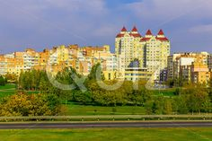 Qdiz Stock Photos Urban Landscape with Buildings and Park,  #architecture #autumn #beautiful #branch #building #City #cityscape #colorful #day #downtown #early #fall #green #modern #multicolored #nature #new #office #outdoors #park #road #scenic #sky #Street #style #sunny #town #tree #urban #view #yellow