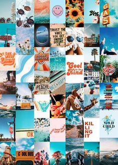 Summer Blues Wall Collage Kit (Digital Download) | Photo Wall Collage, Aesthetic Collage Kit, Boujee Wall Collage, Dorm Room Decor