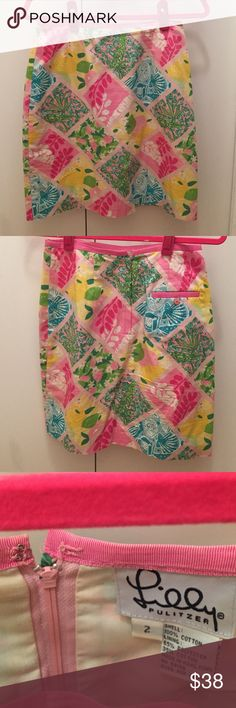 """Lilly Pulitzer vintage multi-patterned mini skirt Lilly Pulitzer multi-patterned mini pencil skirt. Size 2. Pocket in back. Fully lined. Lilly lace inner trim fully intact. Fits at waist, length 19.5"""" from waist. Missing hook on inside back of skirt. Can still be worn without hook, can be fixed easily. Lilly Pulitzer Skirts Mini"""