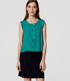 Image of Ruffle Trim Henley Shell color Shady Glade